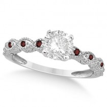 Vintage Diamond & Garnet Engagement Ring 14k White Gold 0.50ct