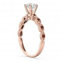 Vintage Diamond & Garnet Engagement Ring 18k Rose Gold 0.50ct