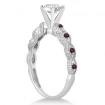 Vintage Diamond & Garnet Engagement Ring 18k White Gold 0.75ct