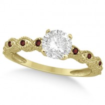 Vintage Diamond & Garnet Engagement Ring 18k Yellow Gold 0.50ct