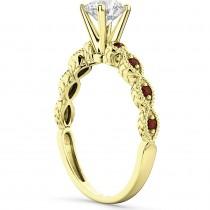 Vintage Diamond & Garnet Engagement Ring 18k Yellow Gold 0.75ct