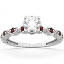 Vintage Diamond & Garnet Engagement Ring Palladium 0.75ct