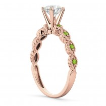 Vintage Diamond & Peridot Engagement Ring 14k Rose Gold 0.50ct