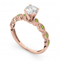 Vintage Diamond & Peridot Engagement Ring 14k Rose Gold 0.75ct
