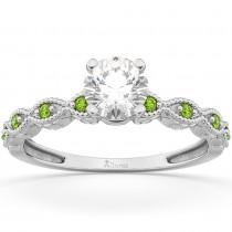 Vintage Diamond & Peridot Engagement Ring 14k White Gold 0.50ct