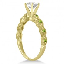 Vintage Diamond & Peridot Engagement Ring 14k Yellow Gold 0.50ct