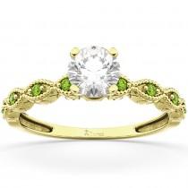 Vintage Diamond & Peridot Engagement Ring 14k Yellow Gold 0.75ct