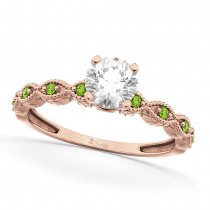 Vintage Diamond & Peridot Engagement Ring 18k Rose Gold 0.75ct