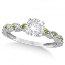 Vintage Diamond & Peridot Engagement Ring 18k White Gold 0.50ct