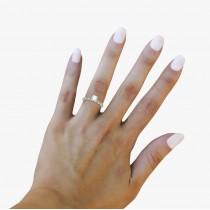 Vintage Diamond & Peridot Engagement Ring 18k White Gold 0.50ct