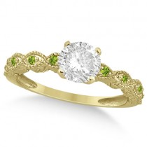 Vintage Diamond & Peridot Engagement Ring 18k Yellow Gold 0.50ct