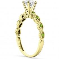 Vintage Diamond & Peridot Engagement Ring 18k Yellow Gold 0.50ct