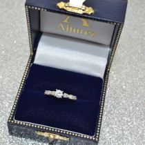 Vintage Diamond & Peridot Engagement Ring Palladium 0.50ct
