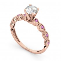Vintage Diamond & Pink Sapphire Engagement Ring 14k Rose Gold 0.50ct