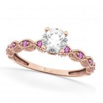 Vintage Diamond & Pink Sapphire Engagement Ring 14k Rose Gold 0.75ct