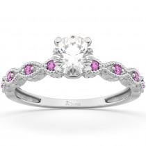 Vintage Diamond & Pink Sapphire Engagement Ring 14k White Gold 1.50ct
