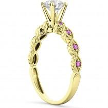 Vintage Diamond & Pink Sapphire Engagement Ring 14k Yellow Gold 1.50ct