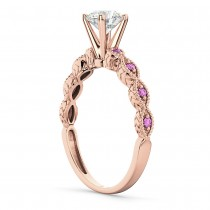 Vintage Diamond & Pink Sapphire Engagement Ring 18k Rose Gold 1.50ct