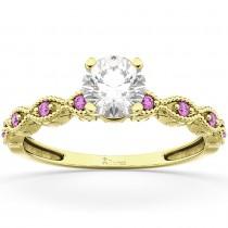 Vintage Diamond & Pink Sapphire Engagement Ring 18k Yellow Gold 0.50ct