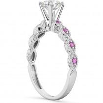 Vintage Diamond & Pink Sapphire Engagement Ring Palladium 1.00ct