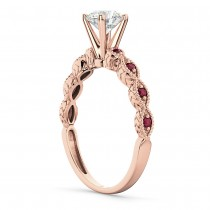 Vintage Diamond & Ruby Engagement Ring 14k Rose Gold 0.50ct