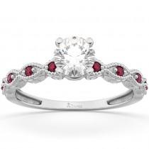 Vintage Lab Grown Diamond & Ruby Engagement Ring 14k White Gold 1.00ct
