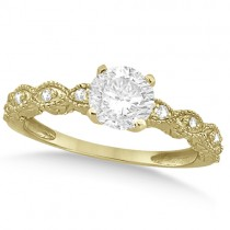 Petite Antique-Design Diamond Bridal Set in 14k Yellow Gold (0.83ct)