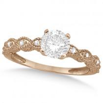 Petite Antique-Design Diamond Bridal Set in 14k Rose Gold (1.08ct)