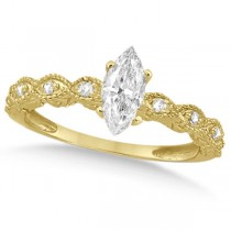 Marquise Antique Style Diamond Bridal Set in 14k Yellow Gold (1.08ct)