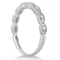 Petite Antique-Design Diamond Bridal Set in 14k White Gold (2.08ct)