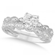 Heart-Cut Antique Style Diamond Bridal Set in 14k White Gold (1.08ct)