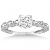 Heart-Cut Antique Style Diamond Bridal Set in 14k White Gold (1.08ct)