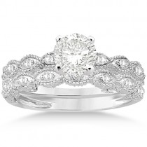 Antique Pave Diamond Engagement Ring Set Palladium (0.20ct)