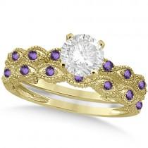 Vintage Diamond & Amethyst Bridal Set 14k Yellow Gold 0.95ct