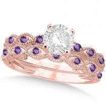 Vintage Diamond & Amethyst Bridal Set 18k Rose Gold 1.20ct