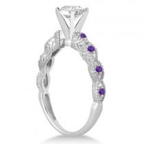Vintage Diamond & Amethyst Bridal Set 18k White Gold 1.20ct