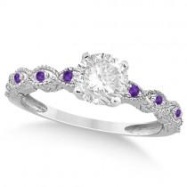 Vintage Diamond & Amethyst Bridal Set Palladium 1.20ct