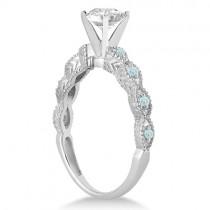 Vintage Diamond & Aquamarine Bridal Set 14k White Gold 1.20ct