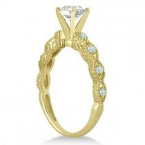 Vintage Diamond & Aquamarine Bridal Set 14k Yellow Gold 0.95ct