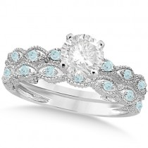 Vintage Diamond & Aquamarine Bridal Set 18k White Gold 0.70ct