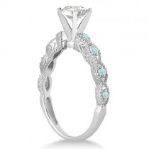 Vintage Diamond & Aquamarine Bridal Set 18k White Gold 0.70ct