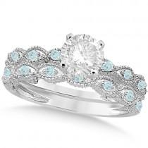 Vintage Diamond & Aquamarine Bridal Set Palladium 0.95ct