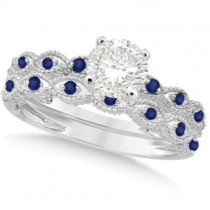 Vintage Diamond & Blue Sapphire Bridal Set 14k White Gold 1.70ct