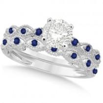 Vintage Diamond & Blue Sapphire Bridal Set 14k White Gold 1.20ct