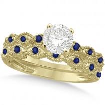 Vintage Diamond & Blue Sapphire Bridal Set 14k Yellow Gold 0.95ct
