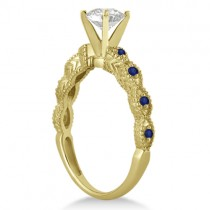 Vintage Diamond & Blue Sapphire Bridal Set 14k Yellow Gold 0.95ct