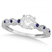 Vintage Diamond & Blue Sapphire Bridal Set Platinum 1.20ct