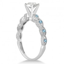Vintage Diamond & Blue Topaz Bridal Set 14k White Gold 0.95ct
