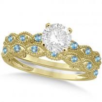 Vintage Diamond & Blue Topaz Bridal Set 18k Yellow Gold 1.20ct