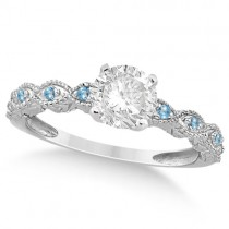 Vintage Diamond & Blue Topaz Bridal Set Platinum 1.70ct